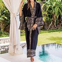 Batik rayon robe, 'Batik Midnight' - Indonesian Floral Patterned Black and White Robe