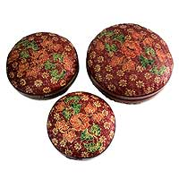 Bamboo baskets, 'Apple Blossoms' (set of 3) - Bamboo baskets (Set of 3)