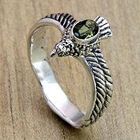 Men's peridot ring, 'Peace Messenger' - Men's Hand Crafted Peridot and Sterling Silver Ring