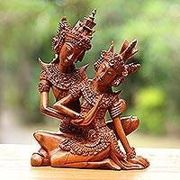 Wood sculpture, 'Hindu Love Story' - Hindu Love Story Wood Sculpture of Rama and Sita