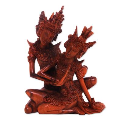 Wood sculpture, 'Hindu Love Story' - Hindu Love Story Wood Sculpture of Rama and Sita