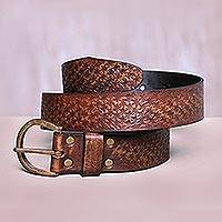 Leather belt, 'Starlight' - Leather belt