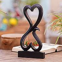 Wood sculpture, 'Love Unites'