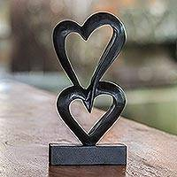 Wood sculpture, 'Linking Hearts' - Romantic Wood Sculpture
