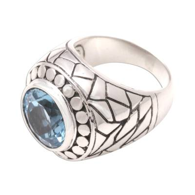 Blue topaz cocktail ring, 'Blue Ocean' - Blue topaz cocktail ring