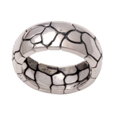 Sterling silver band ring, 'Karma Path' - Modern Sterling Silver Band Ring