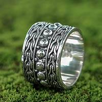 Sterling silver band ring, 'Woman Warrior'