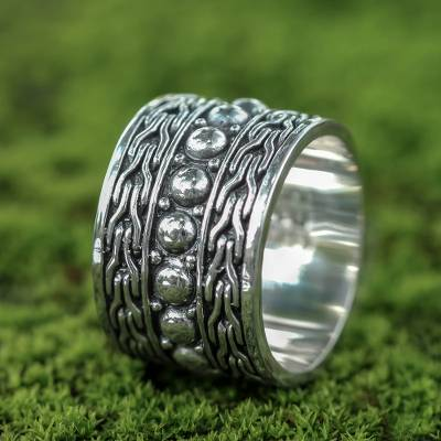 Handcrafted Sterling Silver Band Ring from Bali