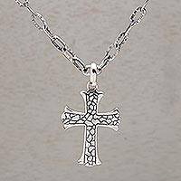 Men's sterling silver cross necklace, 'Loyalty'