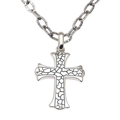 Men's sterling silver cross necklace, 'Loyalty' - Men's Sterling Silver Cross Necklace