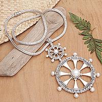 Cultured pearl pendant necklace, 'Sea Wind'