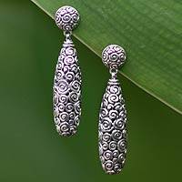 Sterling silver drop earrings, 'Clouds' - Sterling silver drop earrings