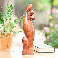 Wood sculpture, 'Mother of Two' - Handcrafted Wood Family Sculpture