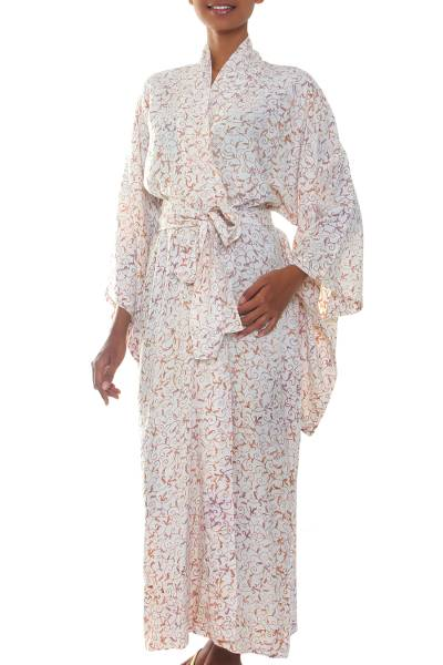 Batik robe, 'Bali Arabesques' - Fair Trade Floral Patterned Women's Robe from Indonesia