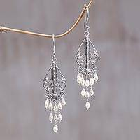 Pearl chandelier earrings, 'White Iridescence' - Sterling Silver and Pearl Chandelier Earrings
