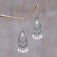 Pearl chandelier earrings, 'Wings' - Pearl chandelier earrings