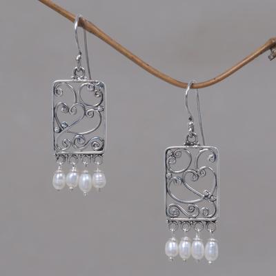 Cultured pearl heart earrings, 'Love Letter' - Handmade Sterling Silver and Cultured Pearl Heart Earrings