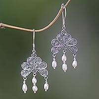 Pearl chandelier earrings, 'Rose Fan' - Pearl chandelier earrings