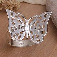 Sterling silver cocktail ring, 'Free as a Butterfly' - Sterling Silver Cocktail Ring