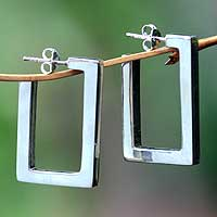 Sterling silver half hoop earrings, 'Fair Square' - Rectangular Open Silver Earrings