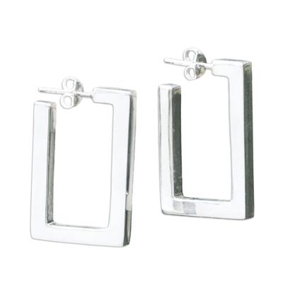 Sterling silver half hoop earrings, 'Fair Square' - Sterling silver half hoop earrings