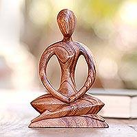 Wood sculpture, 'Meditative Calm' - Handcrafted Wood Yoga Sculpture