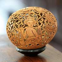 Coconut shell sculpture, 'Forest Vendors' - Cultural Coconut Shell Sculpture