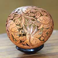 Coconut shell sculpture, 'Turtle Harmony' - Hand Made Coconut Shell Sculpture