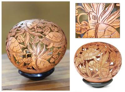 Coconut shell sculpture, Turtle Harmony
