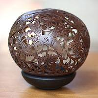 Coconut shell sculpture, 'Dragonfly Garden'