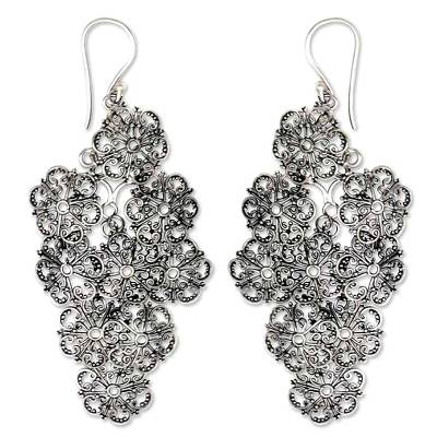 Sterling silver flower earrings, 'Promises' - Floral Sterling Silver Chandelier Earrings