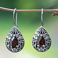 Garnet flower earrings, 'Lovely Daisies' - Floral Sterling Silver and Garnet Earrings