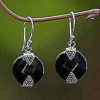 Onyx earrings, 'Sylph' - Sterling Silver Black Onyx Dangle Style Earrings