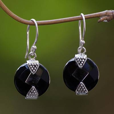 Onyx earrings, 'Sylph' - Onyx Sterling Silver Dangle Earrings from Indonesia