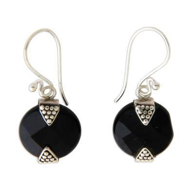 Onyx Sterling Silver Dangle Earrings from Indonesia