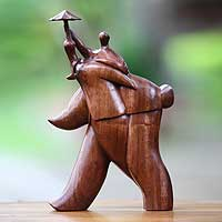 Wood sculpture, 'Guardian Umbrella' - Fair Trade Wood Sculpture from Indonesia
