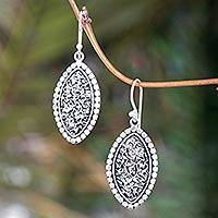 Sterling silver dangle earrings, 'Bali Mystique' - Sterling silver dangle earrings