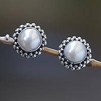 Pearl stud earrings, 'Discretion' - Bridal Pearl and Sterling Silver Stud Earrings