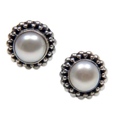 Cultured pearl stud earrings, 'Discernment' - Bridal Cultured Pearl and Sterling Silver Stud Earrings