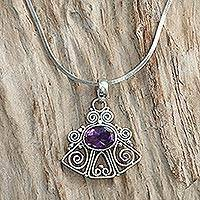 Amethyst pendant necklace, 'Bali Belle' - Silver Pendant Necklace with Amethyst Detail