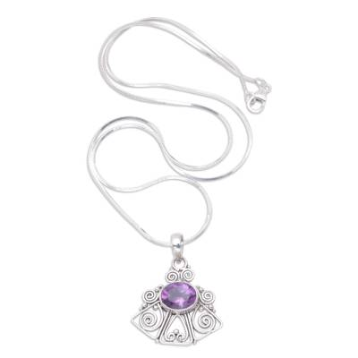 Amethyst pendant necklace, 'Bali Belle' - Hand Made Amethyst and Silver Pendant Necklace