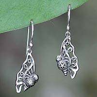 Sterling silver dangle earrings, 'Fledgling Butterfly' - Sterling Silver Handcrafted Dangle Earrings