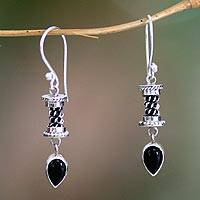 Onyx drop earrings, 'Temptation' - Sterling Silver Onyx Drop Earrings