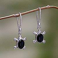 Onyx dangle earrings, 'Turtle Trails' - Unique Handcrafted Sterling and Onyx Turtle Dangle Earrings
