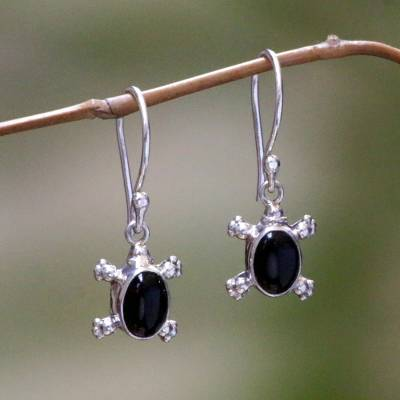 Onyx dangle earrings, 'Turtle Trails' - Handmade Sterling Silver and Onyx Dangle Earrings