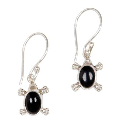 Handmade Sterling Silver and Onyx Dangle Earrings
