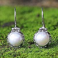 Pearl drop earrings, 'Cloud Odyssey' - Unique Pearl and Silver Bridal Earrings