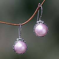 Pearl drop earrings, 'Lilac Odyssey' - Hand Crafted Pearl and Sterling Silver Drop Earrings