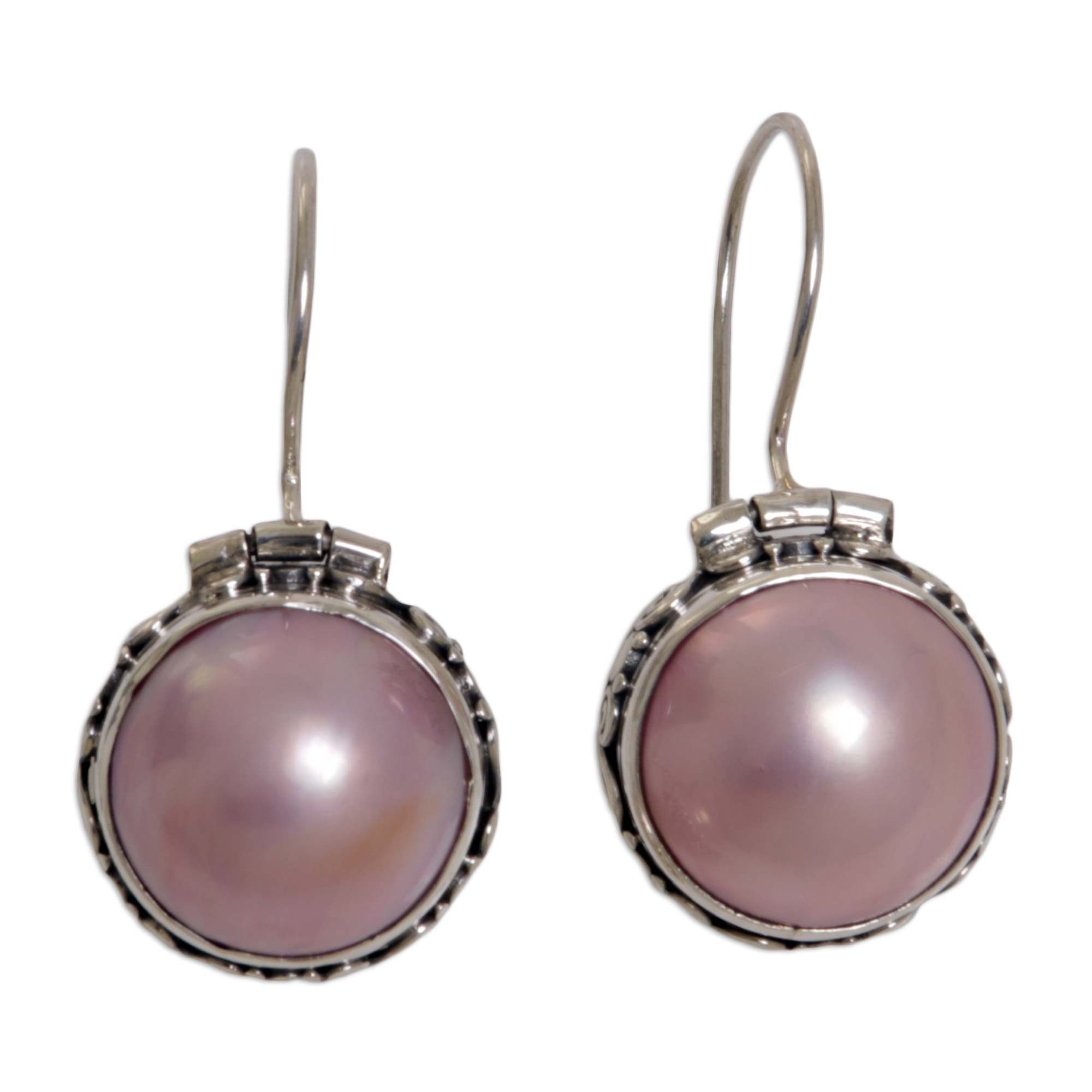 Indonesian Pearl And Sterling Silver Earrings Lavender Drop