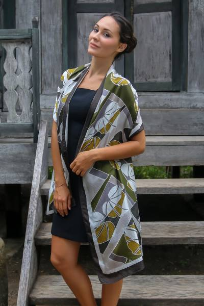 Silk batik shawl, 'Olive Leaf' - Artisan Crafted Indonesian Batik Silk Patterned Shawl